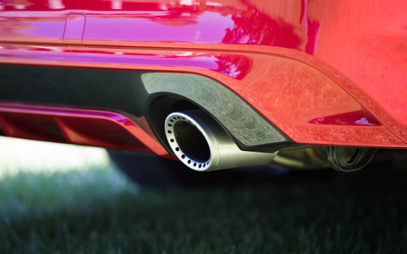 <p>The Red Sport has new, drilled muffler tips. They don't actually do anything different, but they do look pretty cool.</p>