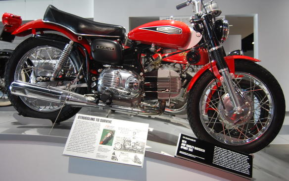 <p>During the late 1950's, the Italian Aermacchi firm was known for producing Harley-Davidson-branded machines like the Sprint (seen here) to compete within the growing market of Japanese makes. Harley-Davidson, which dominated the domestic market after Indian closed, purchased half of the motorcycle division of the Aermacchi firm in 1960.</p> <p>Under the ownership of AMF, Harley-Davidson then purchased the remaining shares of Aermacchi in 1974, and took over production of its two-stroke motorcycles. No longer able to offer models competitive enough with those of the newly dominant Japanese and European manufacturers, Aermacchi was sold in 1978.</p>