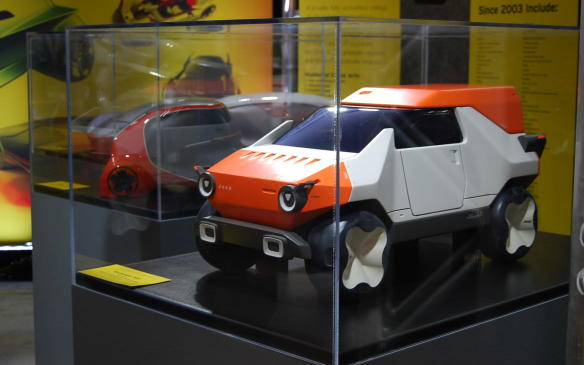 """<p>Voted best transportation design program at automotive colleges in the world, Detroit's College for Creative Studies and its alumni hold design leadership roles in automobile companies around the world. On display at NAIAS are some of their best vehicle (clay) models, including this """"Baby Jeep"""". Weird and Wonderful!</p>"""