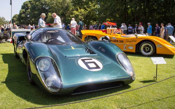 <p>At the opposite extreme, there was a class for race cars from the original Can-Am Challenge Series of the 1960s and early '70s. In the foreground is a coupe version of the Lola T70 – a staple of the series – and behind it a McLaren 8A, driven by Denny Hulme back in the day.</p>
