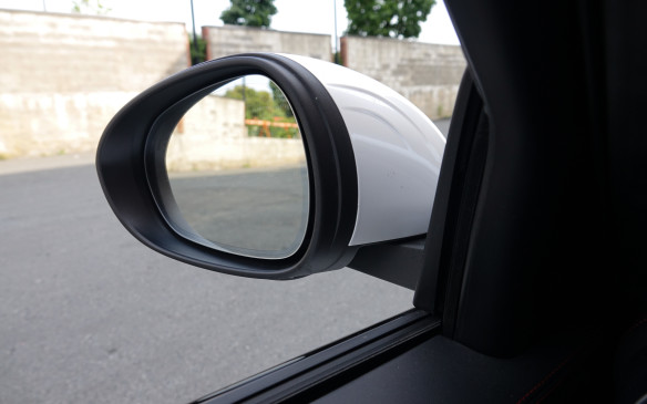 <p>The side mirrors on the Giulia certainly are big. They are also mounted high and far enough forward, at the base of the A-pillar, to very effectively block the view on the topography of an upcoming left turn, for most drivers. Or then the apex of the next corner, since the Quadrifoglio will most certainly tackle a road course or race track with great ease and aplomb. Giulia needs mirrors standing on more slender bases, with plenty of room to see around them.</p>