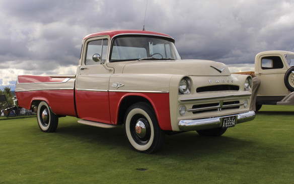 <p>Another distinctive pickup entry was this 1957 Fargo Sweptside with fin treatment similar to that of its passenger car siblings. Fargo Sweptsides were built and sold only in Canada and in 1957, only 25 were made.</p>