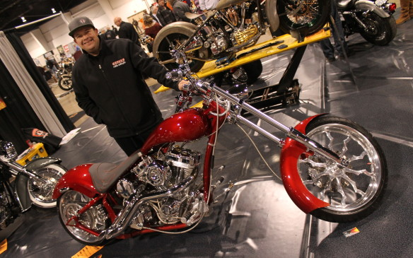 "<p>Most were much cleaner, of course, like this $43,000 custom-built bike, with a 127 cubic inch Ultima engine on a Midwest frame. ""Basically, the guy wanted a pro-street-looking bike, long and low, with a big fat tire on the back,"" says builder Quinn Camp of Quinn Custom Motorcycles in Welland. ""They call them bar-hoppers.""</p>"