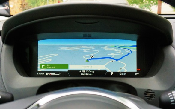 "<p>Audi has been getting a lot of ink lately for its virtual instrument cluster, but Jaguar was an early adopter of screen-based instrumentation on the 2011 XJ. Now that same idea is available on the F-Pace – with all kinds of additional configurability -- as part of the Technology Package on higher trim levels. The 12.3-inch screen can show ""virtual"" gauges in four different ways, or be used to display the navigation screen as here.</p>"