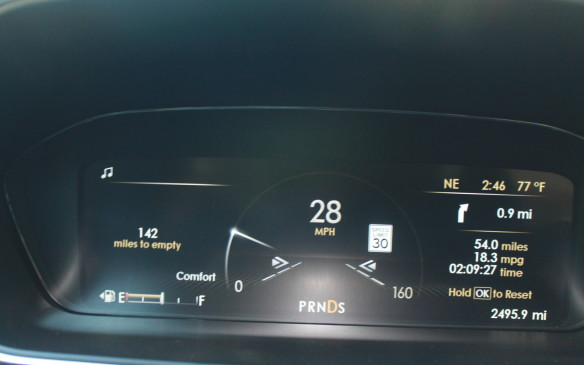 """<p>Even the instrumentation offers a """"quiet"""" mode, with a single sweep of light acting as a speedometer.</p>"""