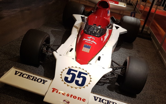 <p><strong>A Canadian debut -</strong> When the Vel's Parnelli Jones Racing team, headed by Parnelli Jones and his long-time business partner Vel Miletich, left USAC racing and fully turned its attention to Formula One in 1974, it was in Canada where it made its start. This 1974 Parnelli VPJ4, at the hands of Mario Andretti, finished 7th in its debut at the Canadian Grand Prix at Mosport.</p> <p></p>