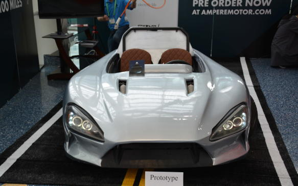 <p>Ampere could get the award for most out-of-place-vehicle at the show. The Ampere 1 Electric Sports Car appears, at first glance, to be a rough and unfinished two-seater. The Californian-based company calls it a prototype and is taking pre-orders for 2018 delivery. Some highlights include a derived tubular chassis, double wishbone suspension, and a carbon kevlar belt drivetrain. It is said go 161 on a single charge and to cost $9,900 USD.</p>