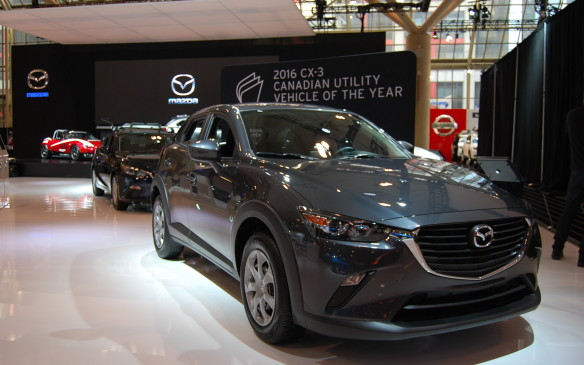 <p>The Automobile Journalists Association of Canada (AJAC) awarded the 2016 Mazda CX-3 the title Canadian Utility Vehicle of the Year at the show's Media Day.  Manufacturers like Mazda are proud to show off and promote these awards.</p>