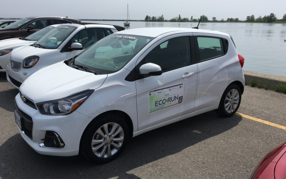 <p>The 2016 Chevy Spark, which listed at $16,995 as tested in EcoRun, was powered by a 1.4-litre four-cylinder Ecotec engine mated to a CVT (continuously variable transmission.) NRCan rates this subcompact front-wheel-drive sedan at 7.6 L/100 km city, 5.7 highway, 6.7 combined. Actual fuel consumption during EcoRun was 5.4.</p>