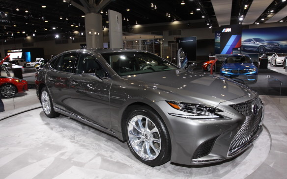 <p>Making its North American debut at Vancouver was the new Lexus LS 500h with multi-phase hybrid powertrain. The front end continues with the 'bravely-styled' grille, but the rest of the exterior is more conservative. The interior, though, is sensational, with its 'progressive comfort' approach and complicated forms and textures.</p>