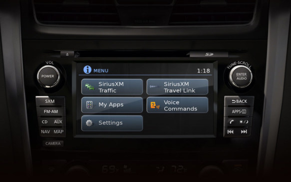 <p>One of the older systems around, Nissan's Connect has proven to be enduring in its relative simplicity. Most relevant information is easy to spot thanks to the top-most bar remaining visible regardless of which screen you're on. Permanent buttons around the screen are large and easy to use.</p>