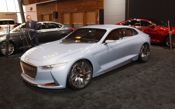 <p>This Genesis Concept, first seen at the New York Auto Show last year, wowed the Vancouver crowds, showing that Hyundai's premium brand will play in not only the high-end luxury segment. It is said to have a high-performance hybrid powertrain.</p>