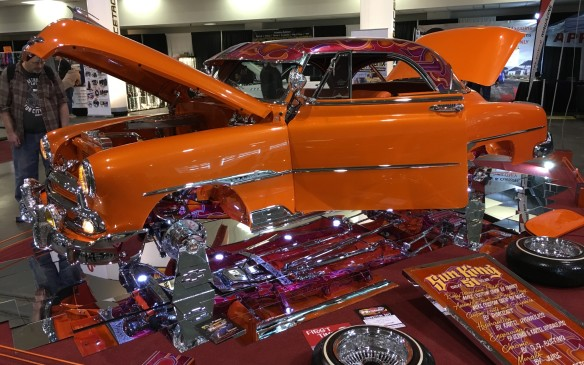 "<p>""Sun King"" is an amazing array of glittering chrome and gleaming paint, transforming this 1951 Chevy Belair into a rolling masterpiece of automotive art.</p>"