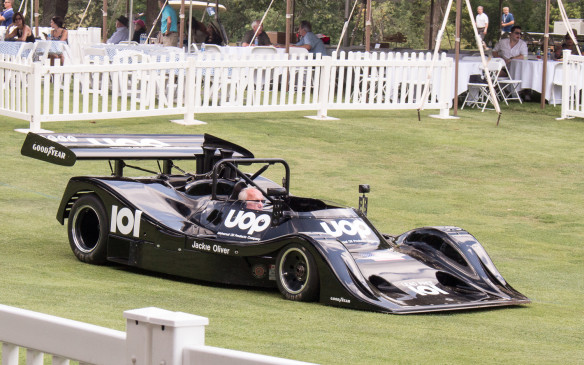 <p>One car that tried to compete with the all-conquering Porsche 917/30 was this 1974 DNA Shadow DN4-1a, driven at the time by Formula 1 driver Jackie Oliver. Made of titanium, and one of two Shadows at St. John's, it was so low to the ground that it scooped up a huge chunk of turf en route to the awards area.</p>