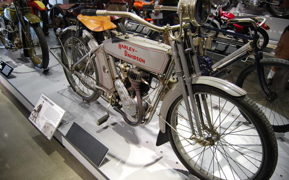 <p>Willian Harley and Arthur Davidson, boyhood friends, established Harley-Davidson two years later in Milwaukee, Wisconsin. The first models from both Harley-Davidson and Indian were little more than motorized bicycles, as seen in this (and the previous) photo.</p>