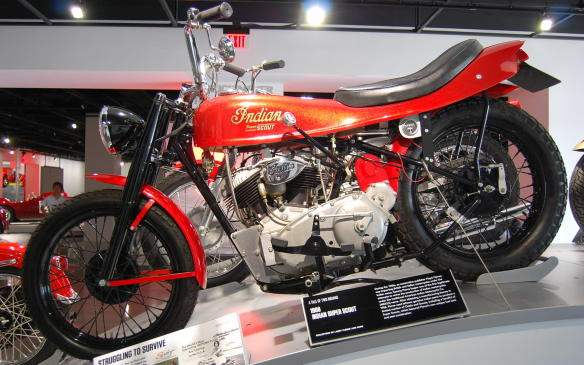 <p>During the 1960's, Sammy Pierce attempted to revive the production of the Indian motorcycle under the traditional American Indian Motorcycle Co. (AIMCO) name.</p> <p>Using leftover genuine Indian parts to produce a limited number of Chiefs and Scouts, Sammy obtained a manufacturing license in 1968 and released a handful of Super Scouts, featuring his own distinguished fuel tank and seat combination.</p>