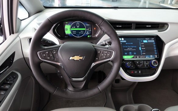 <p>The myriad control buttons, switches and levers mounted on the Bolt's steering wheel and column are well-placed, clearly-marked and effective. Hidden behind the wheel rim, on the left, is the single paddle for 'Regen-on-Demand'. First seen in the short-lived Cadillac ELR and then the newest Chevrolet Volt, this function increases power recuperation greatly and lets you drive the Bolt EV with your right foot only, if you so choose. Switching from D to L mode with the shift lever makes the effect even more pronounced, which may feel too drastic for your taste. Unlike its chic rival the BMW i3, though, the Bolt gives you the choice.</p>