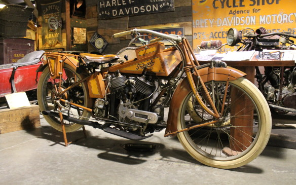 <p>Some are truly unique vintage machines. This is the rarest bike in the collection and perhaps the world: a 1916 Traub. It was found bricked-up between the walls of a Chicago house in 1967, and nobody knows anything about it.</p>