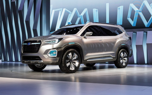 <p><strong>Subaru VIZIV-7 Concept –</strong> Subaru is about to get back into the large SUV game and is previewing its next three-row family hauler in the VIZIV-7 Concept. Though this concept is mostly an exercise in design – and a solid-looking and imposing one at that – there are a few things worth betting on when this new model hits our market early next year: it's bound to feature one of Subaru's boxer engines and, like all of the company's vehicles, standard all-wheel drive.</p>