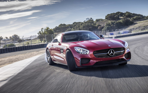 <p>The hand-built, 4.0-litre biturbo V-8 engine in the Mercedes-AMG GT mounts its turbos inside the V of the engine and features dry sump lubrication. In S trim, it bumps the power output from 456 to 503 horsepower.</p>