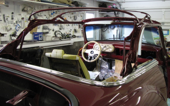 <p>The convertible frame and mechanism has been painted and installed. It will be altered later to create a lower profile.</p>