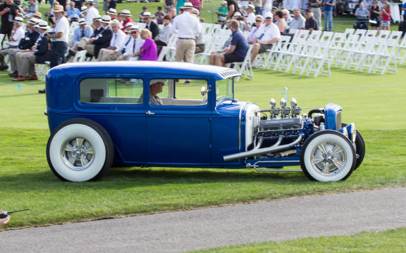 <p>Not just for show, this chopped and channeled 1930 Ford Model A also took part in the Tour the day before.</p>