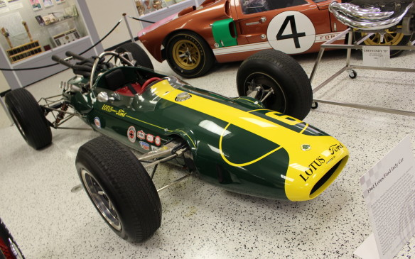<p>Clark didn't win the 1964 race in this Lotus type 34 with Ford four-cam V-8 engine but he did smash the qualifying record with a pole-winning four-lap average of 158.828 mph (256 km/h). A tire failure took him out of the race while in the lead and A.J. Foyt went on to win – the last time ever for a front-engined roadster. Clark came back to win with another Lotus Ford in 1965.</p>