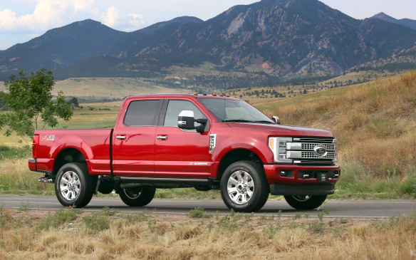<p>Ford's Super Duty lineup includes the F-250, F-350, and F-450 heavy-duty pickups, and all of them can be equipped with the Blue Oval's 6.7-litre turbo-diesel V-8 that makes 440 horsepower and 925 lb-ft of torque at 1,800 rpm, giving them the best torque figure available in the heavy-duty pickup class.</p>