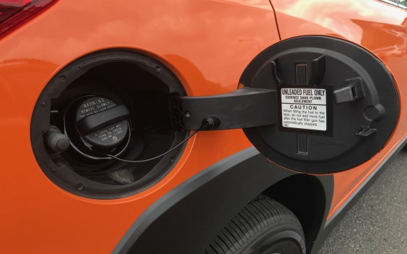 <p>The gas tank is a little larger, up three litres to 63 litres, which gives a range of almost 800 kilometres on a full tank. That's a fair bit farther than the Impreza, which has a 50-litre tank.</p>