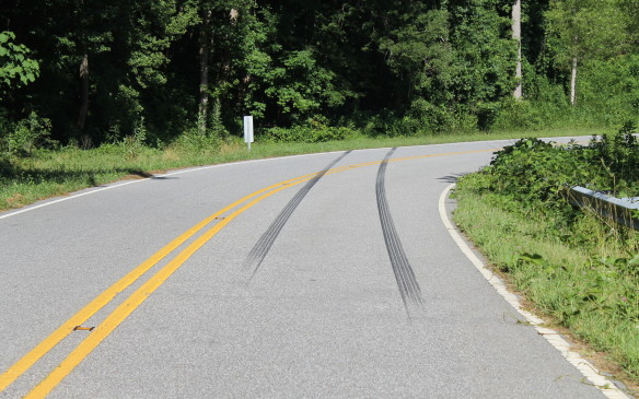 <p>But driving in the Smokies can be dangerous. This car that left these tracks was clearly going far too fast for the curve.</p>