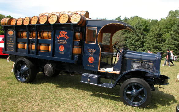 <p>Prohibition didn't begin until a year after this truck was built and it never applied in Canada so the truck was probably a popular sight.</p>