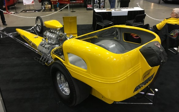 "<p>Detroit hot rod builder and drag racer Al Bergler combined a front-engined rail dragster with the body of an Austin Bantam to create ""More Aggravation,"" which not only won the first prestigious Ridler Award as the most outstanding car at the 1964 Detroit Autorama, but also proved to be as fast as it looks. In three seasons of NHRA competition (1964-66), Bergler set six national records – the best was 184 mph in 8:10 seconds – and won the 1966 Springnationals Super Eliminator title with this car. He also finished the '66 season as runner-up in the NHRA world championship. The car's supercharged 480-cubic-inch Hemi engine cranks out between 1,100 and 1,200 horsepower on gas alone.</p>"