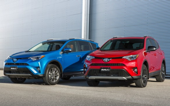 <p>In addition to the Hybrid (left), Toyota has added a Sport model (right) to the RAV4 lineup. It comes with a sport-tuned suspension, unique18-inch alloy wheels and a premium interior with contrasting accent colour stitching and a black headliner.</p>