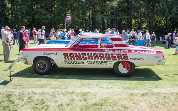 <p>Another class specifically for race cars paid tribute to drag-racing 'Funny Cars' from the era before they evolved into today's 'flip-tops'. This Ramchargers car, fielded by a team of off-duty Chrysler engineers, was a crowd favourite at the time. Note the altered wheelbase that typified the genre.</p>