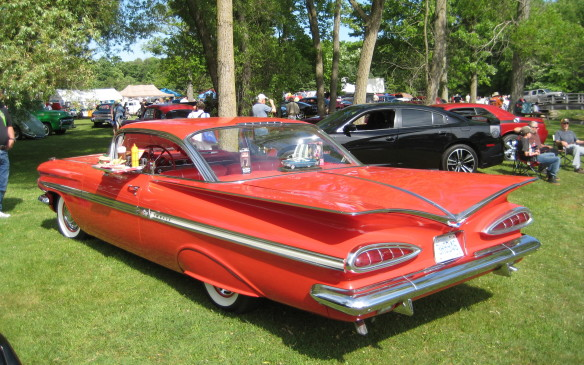 <p>When fins reached their apogees in 1959, Chevrolet went out rather than up. This '59 Impala coupe may be Chevy's most extreme design ever.</p>