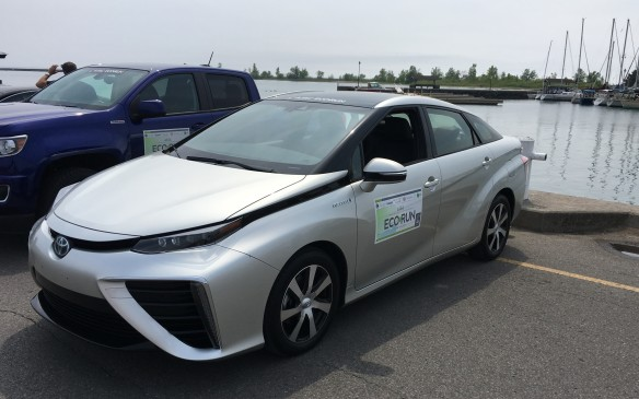 <p>The Mirai is more than a car with a unique propulsion system – its styling makes it stand out from the crowd of traditional four-door mid-size sedans. The exterior has been designed to be very aerodynamic, not only helping its eye appeal but also enhancing its fuel efficiency by reducing wind resistance. Its low coefficient of drag (Cd) – 0.29 – is comparable to the Prius, which is 0.25. The exterior mirrors are heated and power adjustable and the front door handles are operated by touch sensors, while 17-inch engraved alloy wheels complete the sophisticated look.</p>