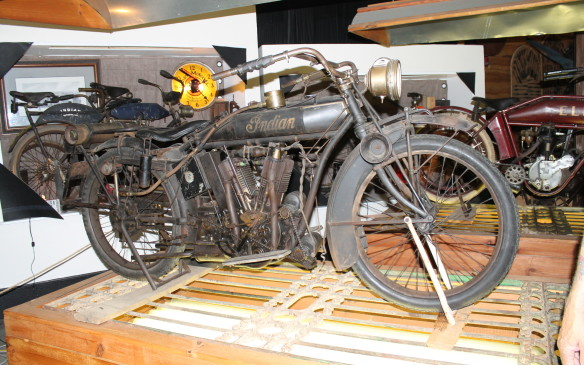 <p>This is the personal touring bike of Oscar Hedstrom, one of the founders of the Indian Motorcycle Co. It was specially built in 1913 in the company basement, but there are less than a dozen parts that will fit a 1913 Indian.</p>