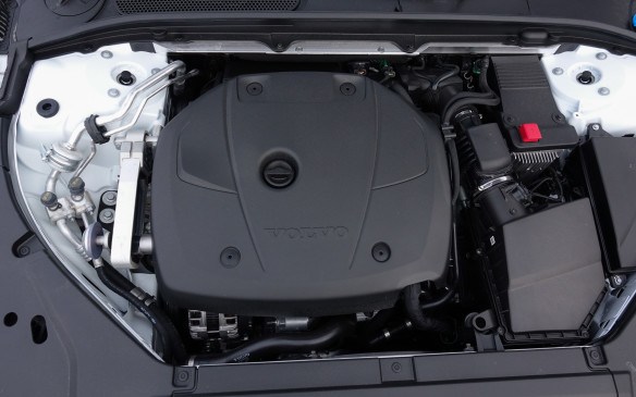 <p>Nestled neatly under the hood of the new V90 Cross Country is the same Drive-E unit that powers the S90, V90 and XC90. This four-cylinder, 2.0-litre gasoline engine with direct injection uses both a supercharger and turbocharger to generate 316 hp and 295 lb-ft of torque from just 2,200 rpm. It's a smooth, lively engine, thanks to balance shafts, and Volvo claims it can vault the 1,960 kg Cross Country from 0 to 100 km/h in a mere 6.3 mere, coupled to a smooth and quick-shifting 8-speed automatic gearbox. Combined fuel consumption is quoted at 9.4 L/100 km.</p>
