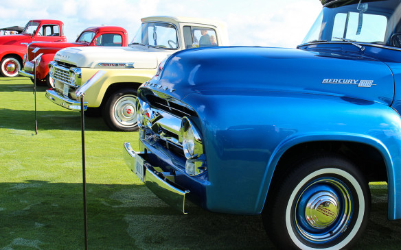 <p>There was a class for pickup trucks, too. Look closely and you'll see that the two in the foreground are not Fords, as their shapes suggest. They're Canadian-exclusive Mercury models sold by Mercury-Meteor dealerships. Third in line is an even rarer 1941 Willys Americar pickup.</p>