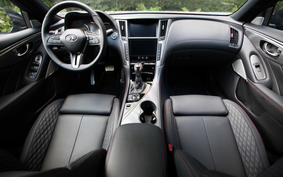 "<p>Inside the sedan, the instrument gauges are redesigned and there are new combinations of leather and stitching. Infiniti calls the layout ""driver-centric, passenger-minded,"" to stress that it's as accommodating for passengers as it is for the person behind the steering wheel.</p>"