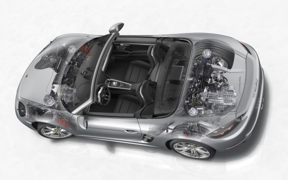 <p><strong></strong>The Boxster is more about agility and handling than raw power. It's 5 kg heavier than its predecesor but that's spread 50/50 between the front and back. While the engine is a little lighter, the chassis and drivetrain is stronger and heavier.</p>