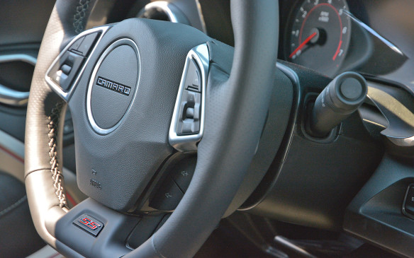 <p>While outgoing 5th­gen Camaros feature the yellow bowtie on the steering wheel, upcoming 6th-gen cars throw back to the days of model badging. Throwback similarities stop there however as the new Camaro cabin is a temple to technology. No amount of retro­styling can mask the electronic buttons, gauges and screens that have become the norm for modern mass­market vehicles.</p>
