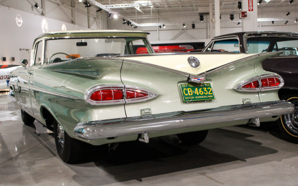 <p>At the other extreme of the Chevrolet styling spectrum was the 'bat-wing' 1959 model, represented here in El Camino sedan-pickup form.</p>