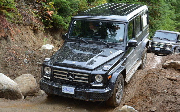 <p>It was a slippery day and the G 550 sitting on 19-inch wheels handled everything in its path. It's easy to get bogged down in muddy trails, but the G-Class kept moving ahead. We only had one hiccup along the way, and that was due to choosing the wrong line, as the mud created a sliding angle that shifted us close to the trees.</p>