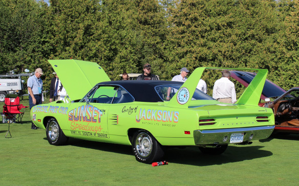 <p>Of course there was a class for Muscle Cars and as seems the case in most gatherings of those monsters, they all had their hoods up, making photography difficult. The most spectacular of them all, now as when they were new, was a 1970 Superbird, in this case used literally as a promotional vehicle.</p>