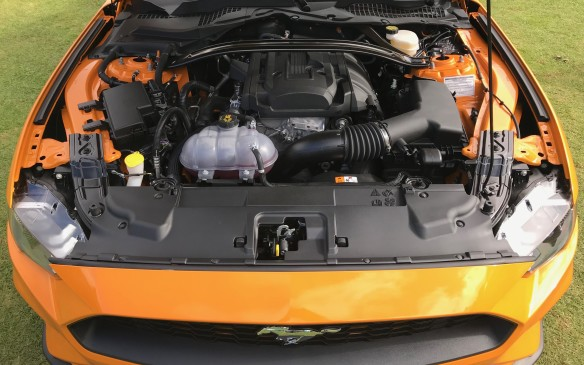 <p>The 2.3L Ecoboost engine is shared with the sporty Ford Focus RS, but is recalibrated to account for the differences between the two cars. There's no longer a V-6 engine available.</p>