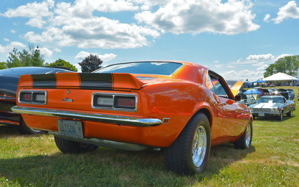 <p>Replete with the mandatory racing stripes, this 1st-­gen Camaro is no doubt a looker. Unlike its modern counterparts, polished exhaust tips weren't a design trend for these early muscle cars. Also unlike the modern Camaro, 1st-gen cars could be had with monstrous 6.5 or 7.0-litre big-block engines via special orders – such were the days before significant air pollution regulations.</p>