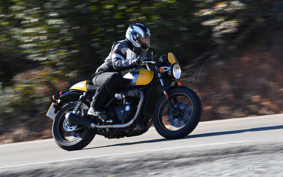 <p>It looks like an old-style British bike, but the Street Cup is thoroughly up to date, with traction control, a ride-by-wire throttle and ABS. It makes 55 hp compared to the previous Thruxton's 69 hp and up to 96 hp for the new Thruxton 1200 R, but it leans just as far through the corners.</p>