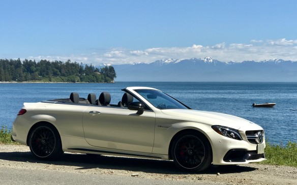 <p>There was no chance of rain here on the west coast, and the convertible let us appreciate the tall trees and the salty smell of the air next to the ocean.</p>