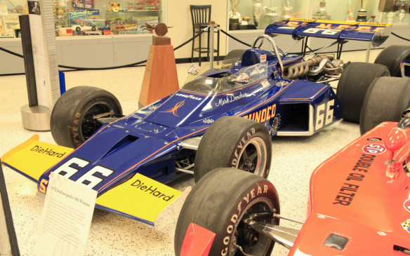 <p>As well as the 100<sup>th</sup> running of the 500, the museum is also celebrating the 50<sup>th</sup> anniversary of Penske Racing this spring. This McLaren M16B was driven by Mark Donohue to Roger Penske's first Indy 500 win in 1972. Since then, Penske's teams and drivers have won the race 14 more times.</p>
